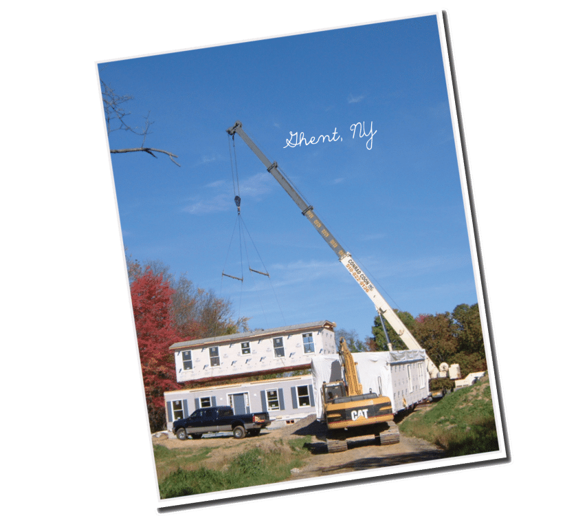 Two Story Modular Home being set in place with crane